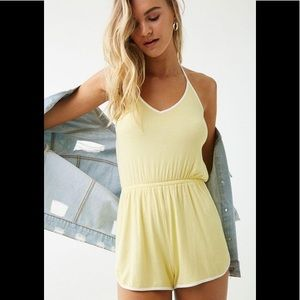 🆕 Forever 21 Yellow Ribbed Halter Romper 💛
